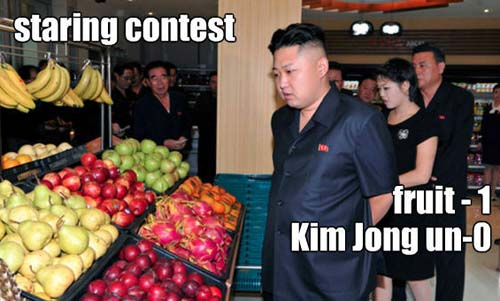 Kim Jong-un Fruit Staring Contest - SlightlyQualified.com
