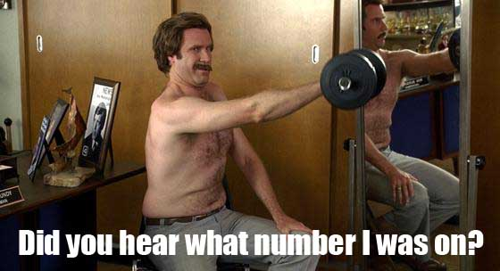 Ron Burgundy Lifting Weights - SlightlyQualified.com