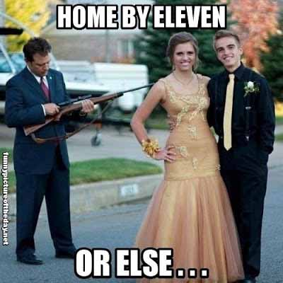 Funny Crazy Dad with Gun Prom Picture - SlightlyQualified.com Funny Pics
