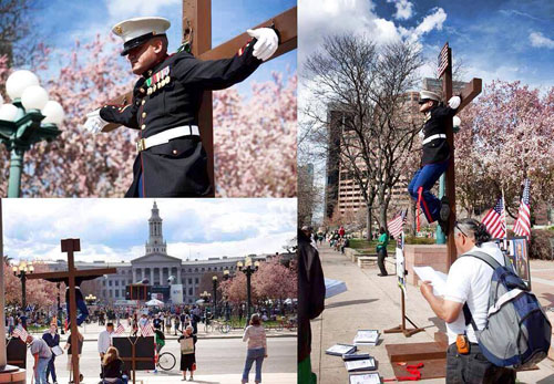 Marine Hangs on Cross in Washington DC in Protest - SlightlyQualified.com
