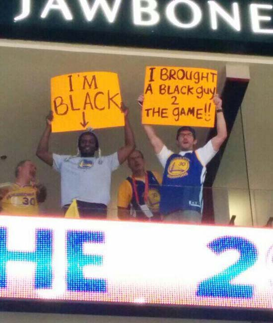 Warrior Fans Heckle Donald Sterling with Funny Sign Pic - SlightlyQualified.com Funny Pics