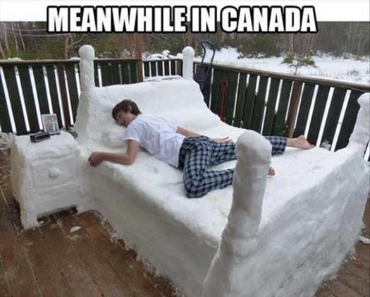 Funny Snow Bed in Canada Pic - SlightlyQualified.com Funny Pics