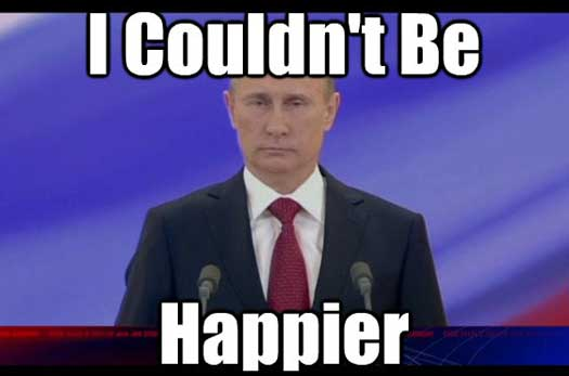 Happy Putin Funny Pic - SlightlyQualified.com Funny Pics